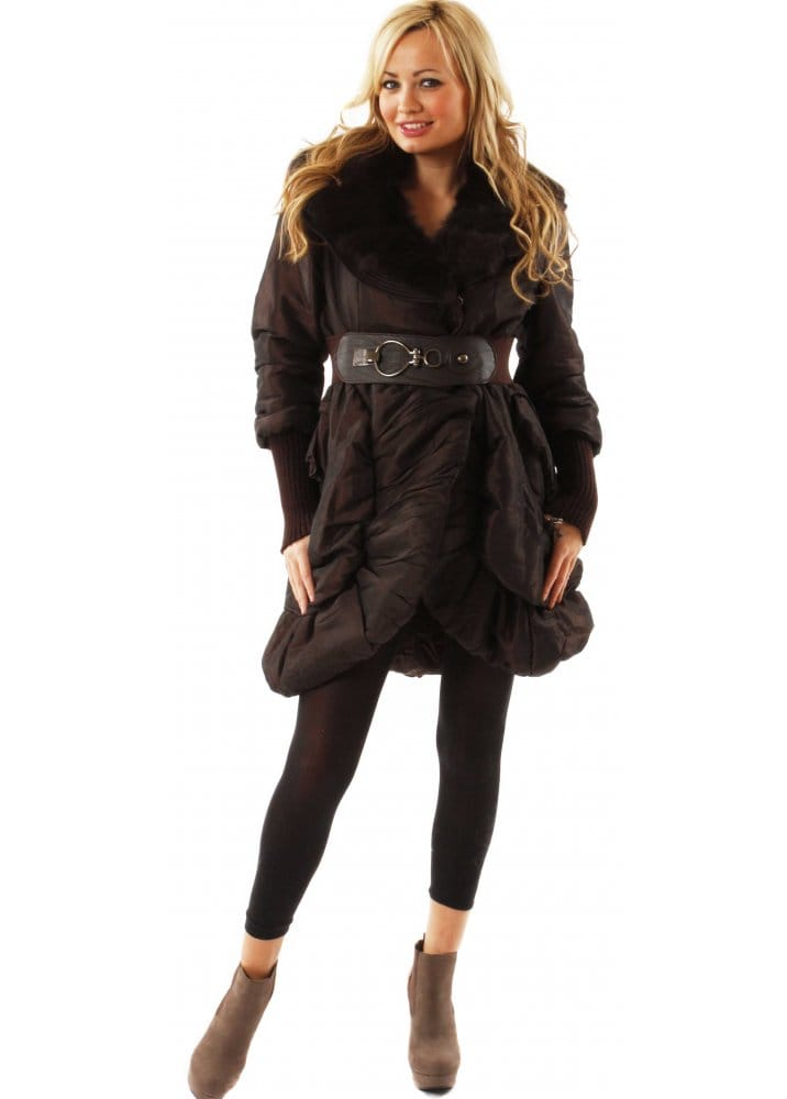 Designer Brown Puffa Coat | Designer Fur Collar Puffa Coat