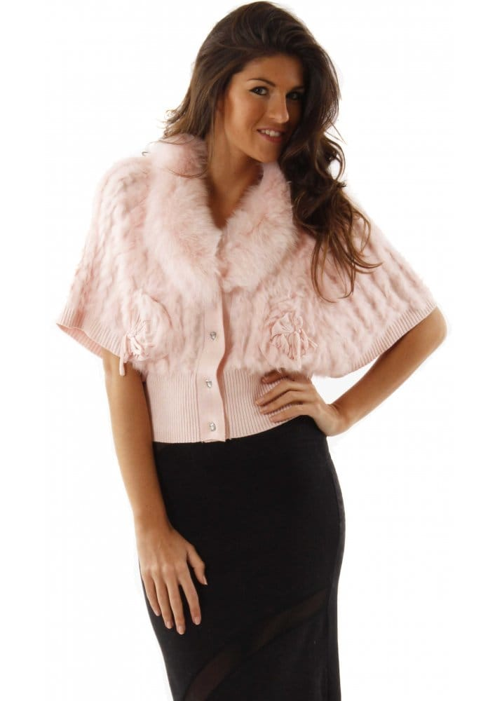 Designer baby pink fur cardigan designer fur knitted for Designer bolero