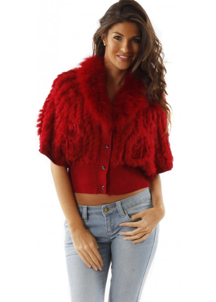 Designer Red Fur Cardigan Designer Fur Knitted Cardigan