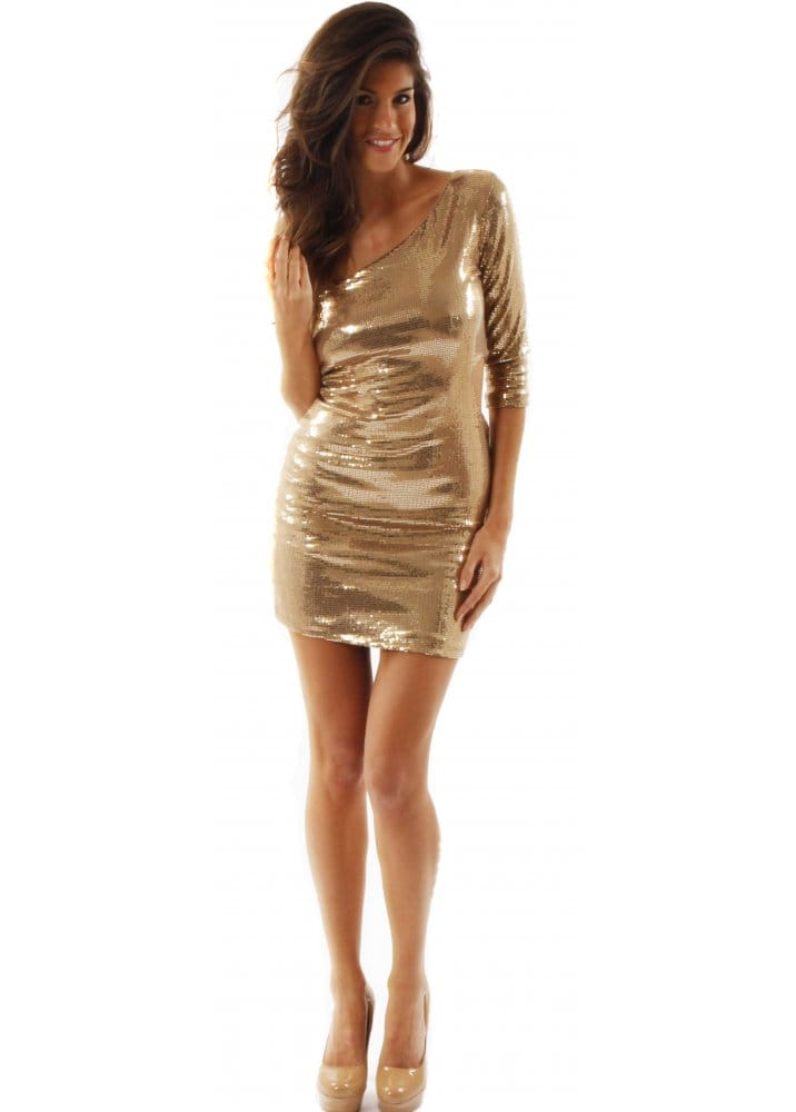 Love Gold Sequin Cut Out Bodycon Dress Love Label Gold
