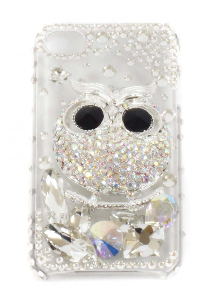Iphone 4 4s Crystal Owl Embellished Mobile Phone Cover
