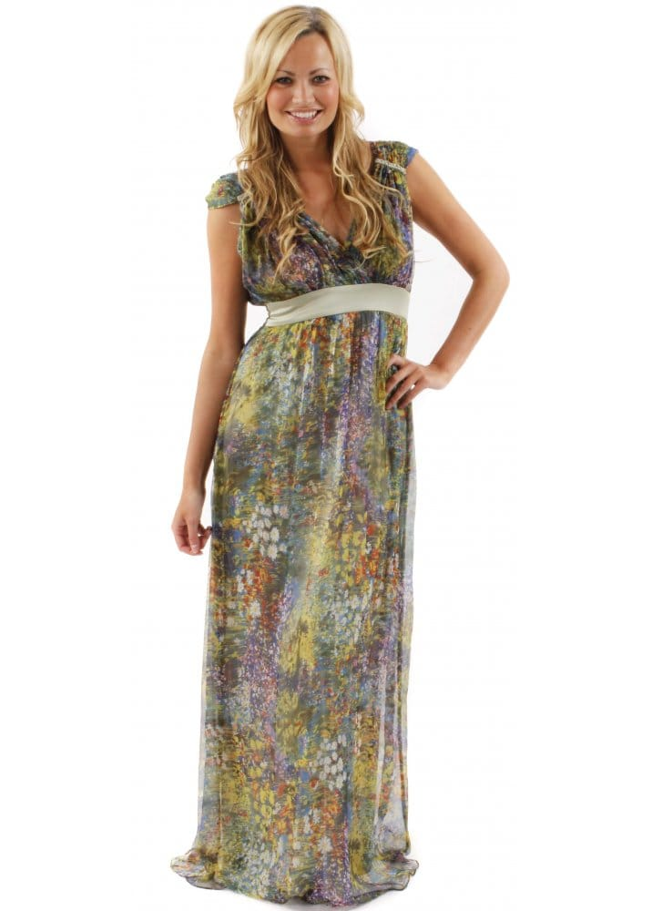 Traffic-People-Prairie-Tranquil-Silk-Floral-Printed-Green-Maxi-Dress-XS-S-M-L-XL