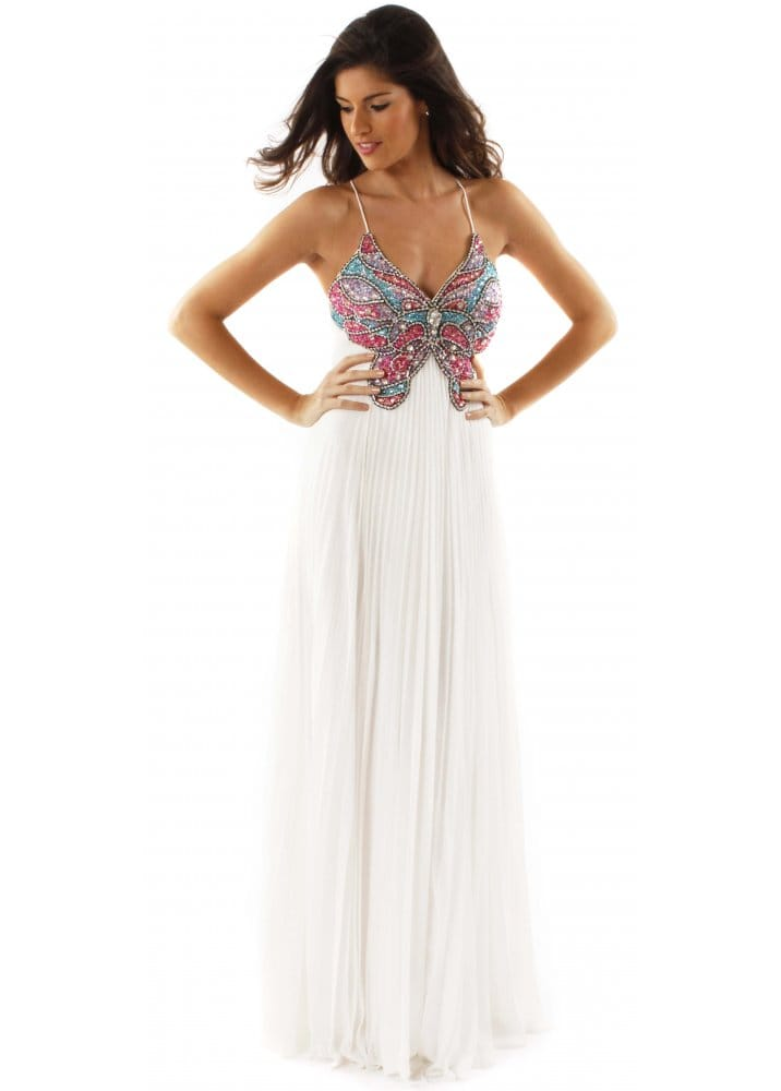 Forever Unique Tyra Jewel Butterfly Ivory Chiffon Backless Maxi ...