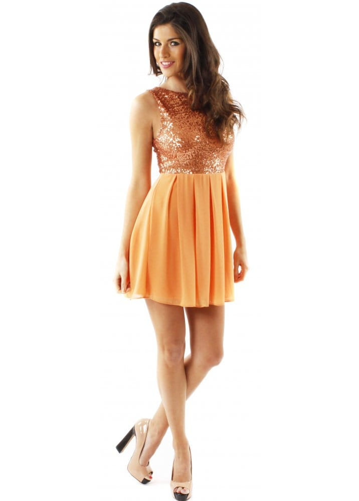 TFNC Sarah Orange Sequin Dress | TFNC Party Dresses | TFNC London ...