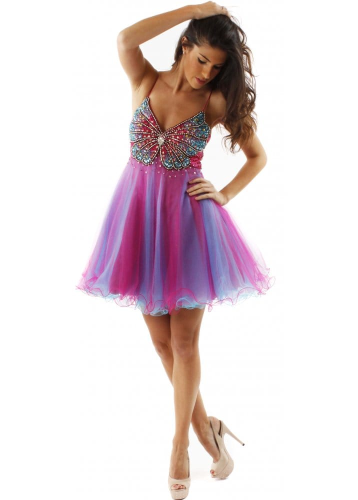 Forever Unique Brook Fuchsia & Blue Embellished Butterfly Prom Dress ...