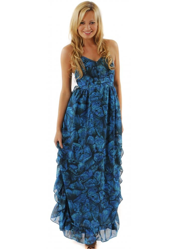 House Of Dereon Blue Butterfly Print Ruffle Maxi Dress | Buy House Of Dereon Dresses