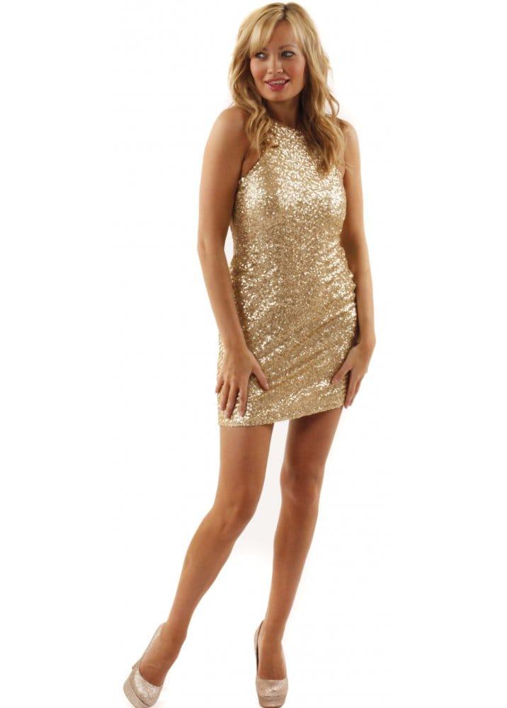 TFNC Suzanne Gold Sequin Dress  TFNC Party Dresses  TFNC London ...