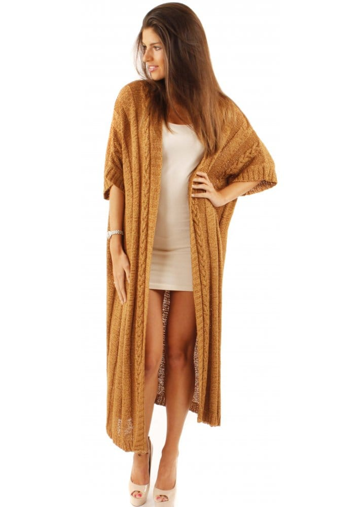 Korean Designer Brand Thick Loose Cable Knit Long Cardigan