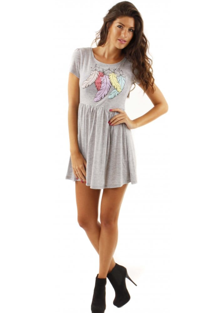 Delicious Couture Grey Feathers Mini Dress Grey T Shirt