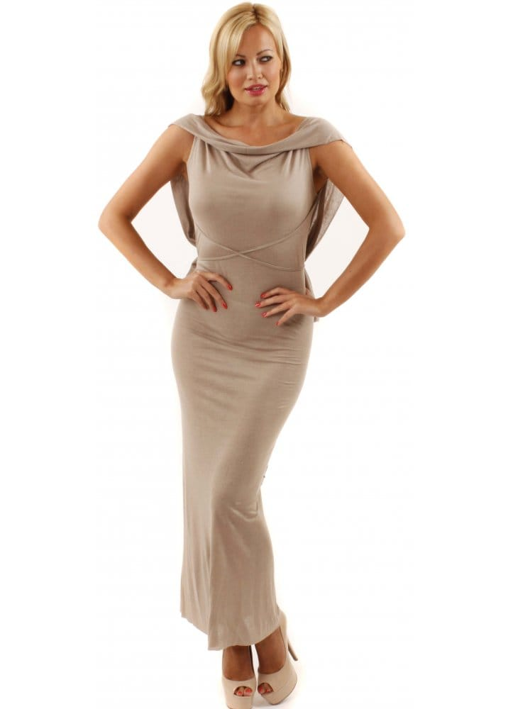Twisted muse taupe maxi dress twisted muse dresses for Waterfall design dress