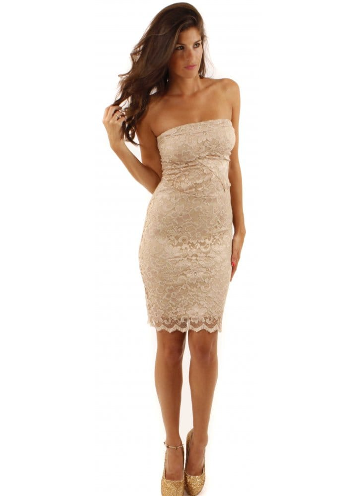 Galerry lace dress beige