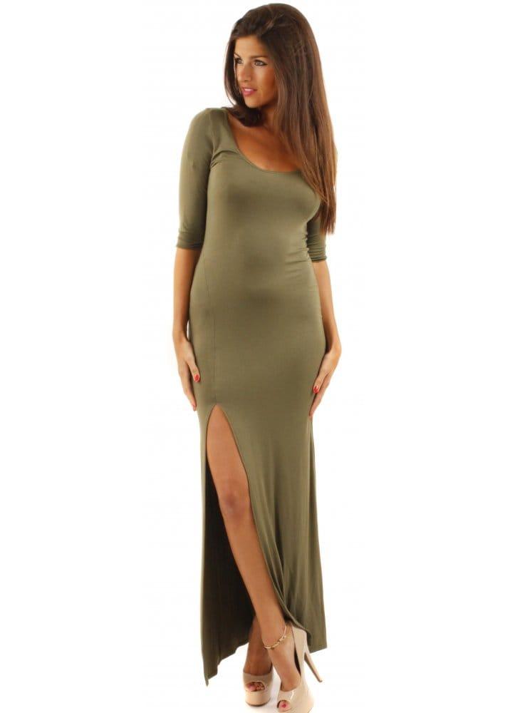LOVE Khaki Jersey Bodycon Maxi Dress