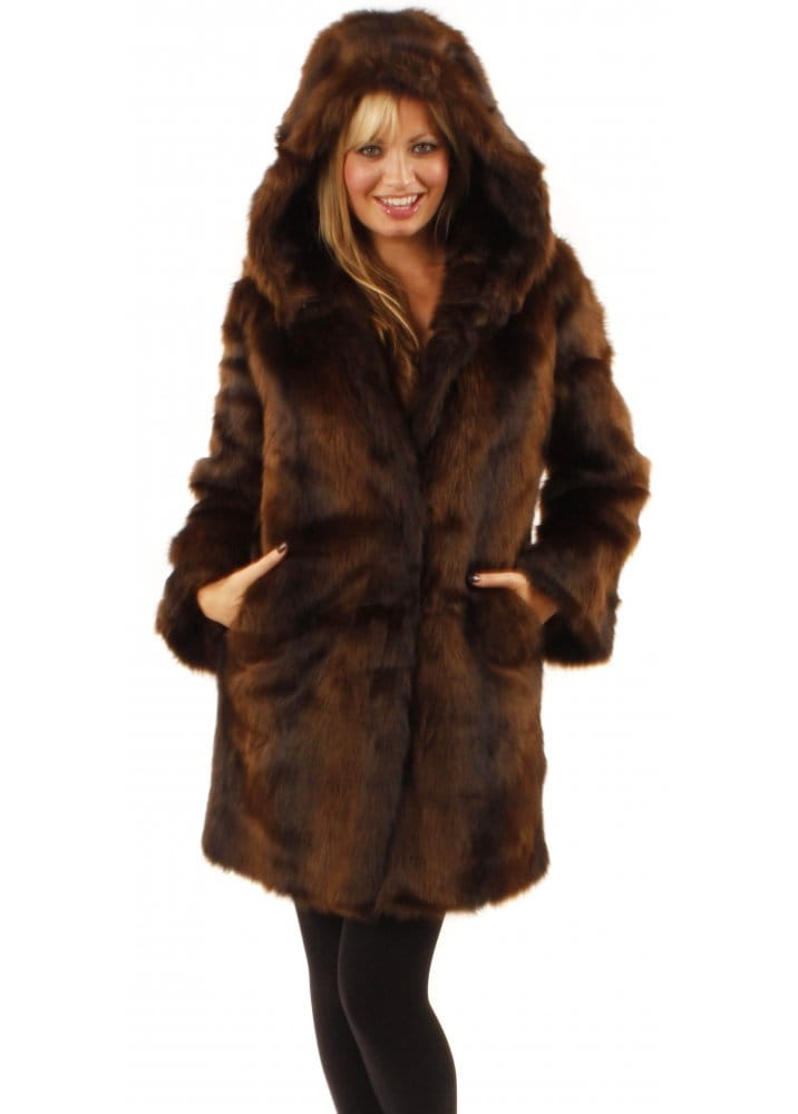 Ruby & Ed | Hooded Mink Faux Fur Coat | Designer Faux fur Coats
