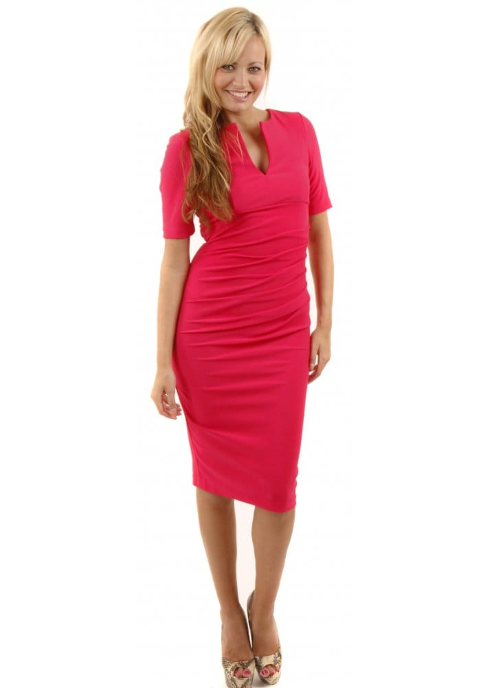 Charming Dress - Hot Pink Pencil Dress - Designer Pencil Dresses