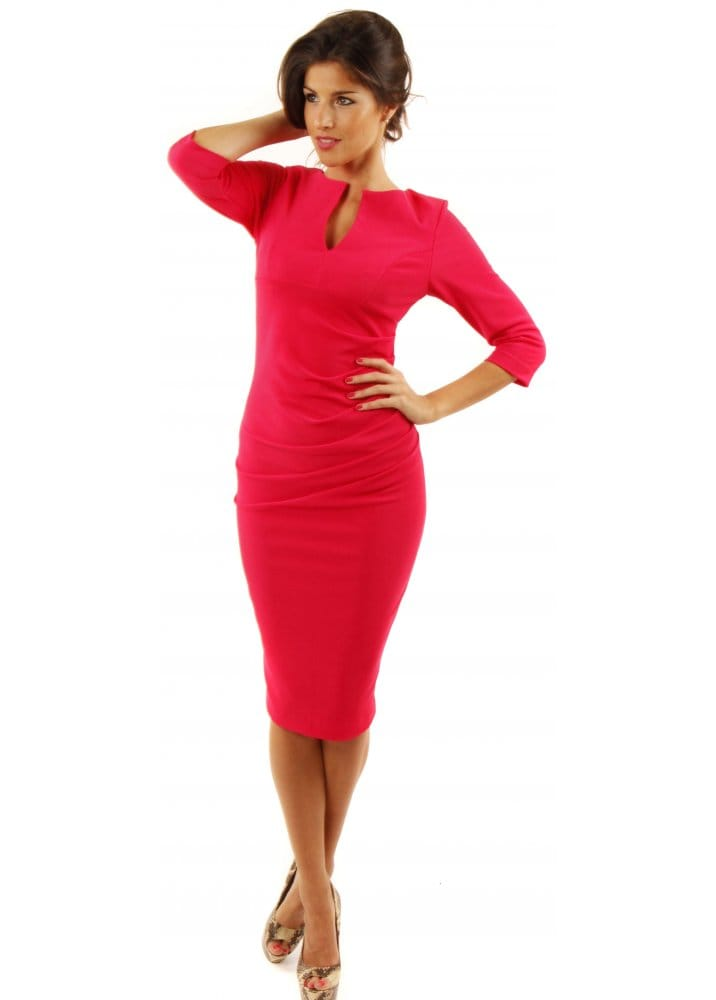 Charming Dress - Pink Pencil Dress - Designer Hot Pink Pencil Dresses