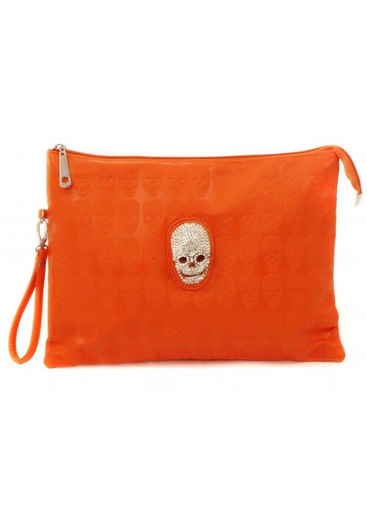 Orange Embossed Skull Bag | Crystal Skull Clutch Bag | Cheap Designer ...