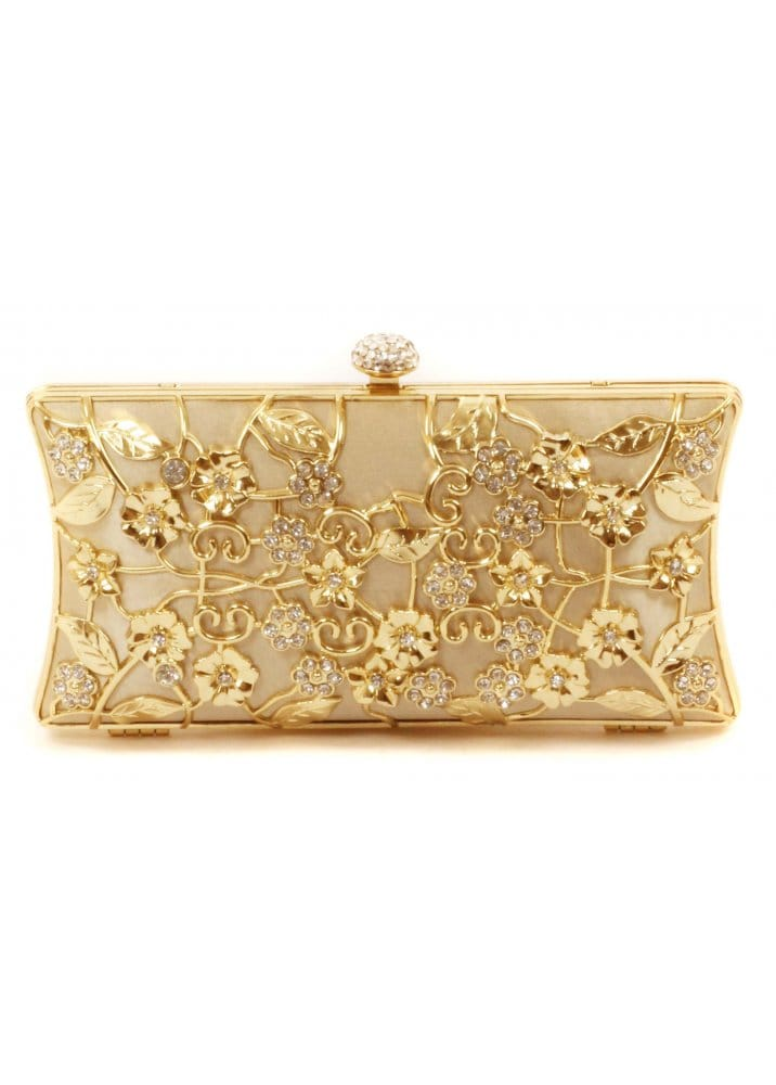 Item has been added to cart and will be reserved for 30 minutes. After that time, item will remain in your cart, but availability cannot be guaranteed. A bejeweled Santi clutch with allover, faceted beadwork. A gold-tone kiss-lock opens to a satin-lined interior with 1 pocket. Chain strap tucks away.