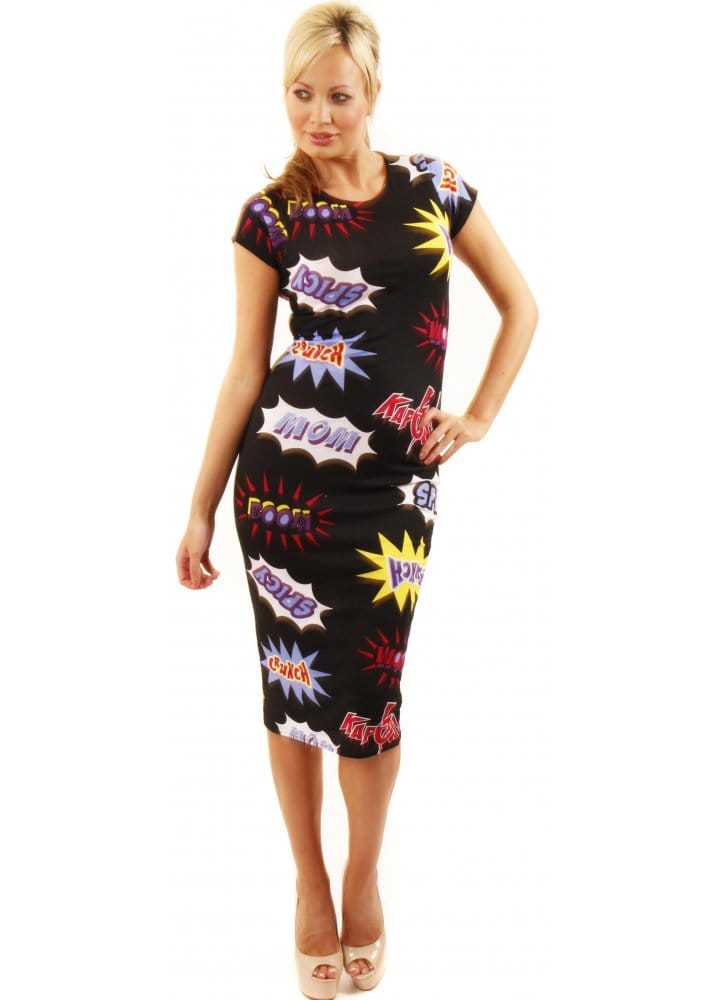 Comic Strip Dress Kapow Comic Pencil Dress Unusual Dresses