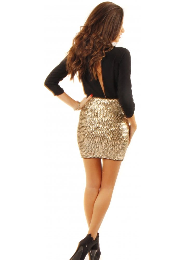 high Waisted Gold Sequin Mini Skirt | Designer Gold Skirts