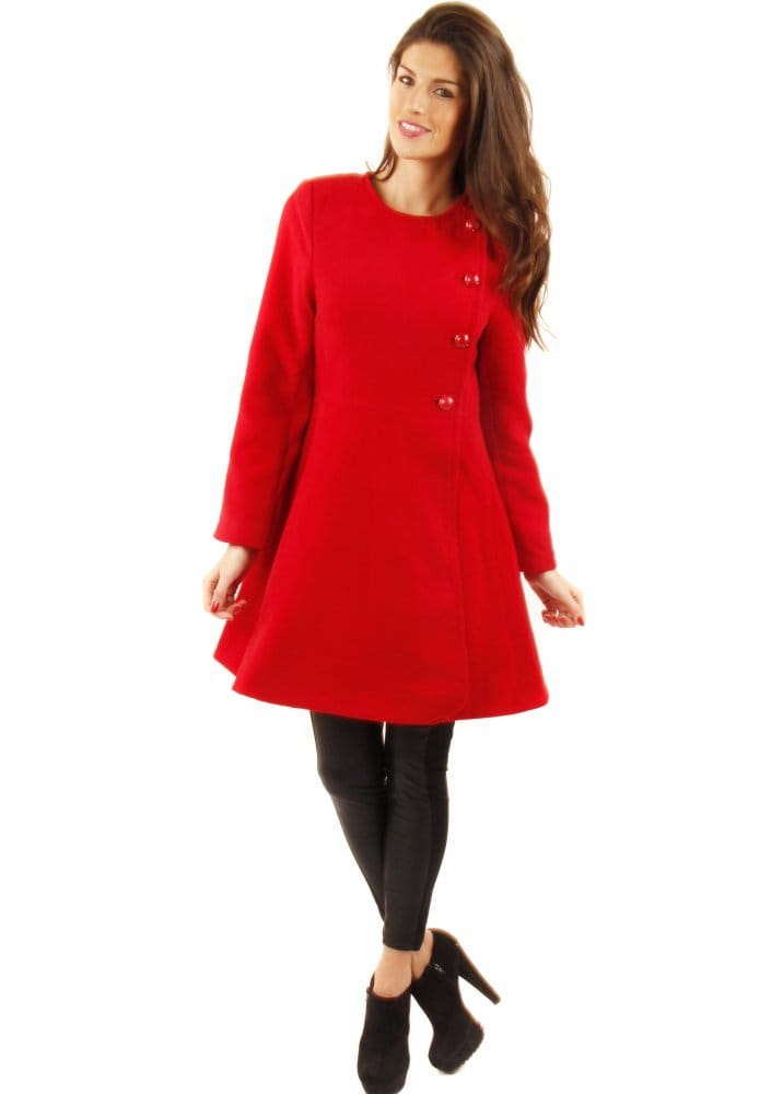 Red Short Coat | Women's Red Coat | Designer Red Coats