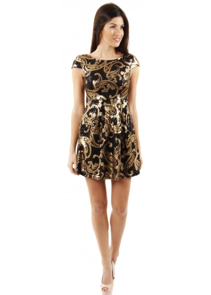 Gold Sequin Party Sequin Dress Gold Amp Black Skater Dress Pretty Party Dresses