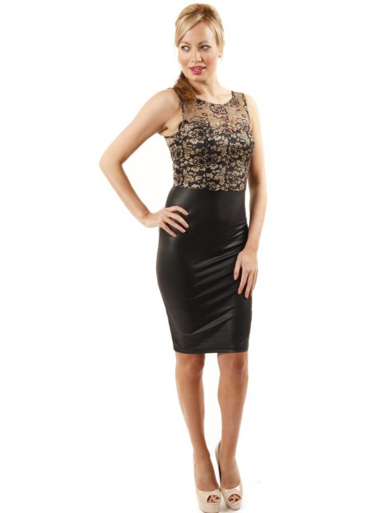 Chi Chi Faux Leather Amp Lace Dress Lace Top Midi Dress