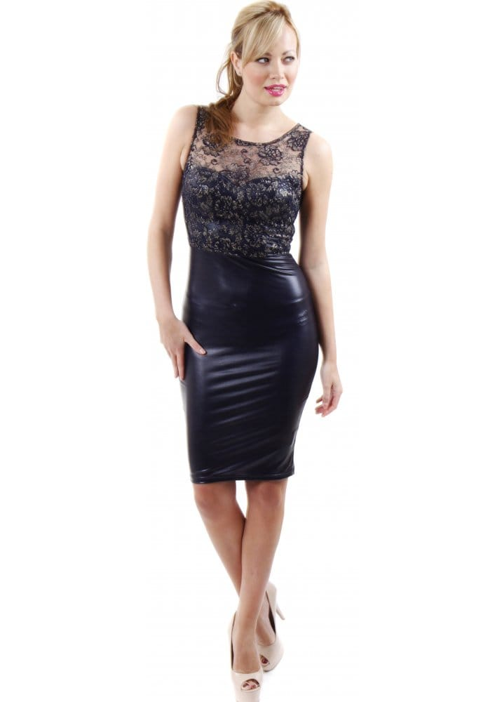 Chi Chi | Navy Blue Faux Leather & Lace Dress | Blue Leather ...