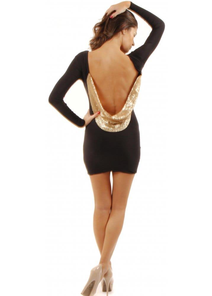 Black Backless Mini Dress Gold Sequin Drape Dress