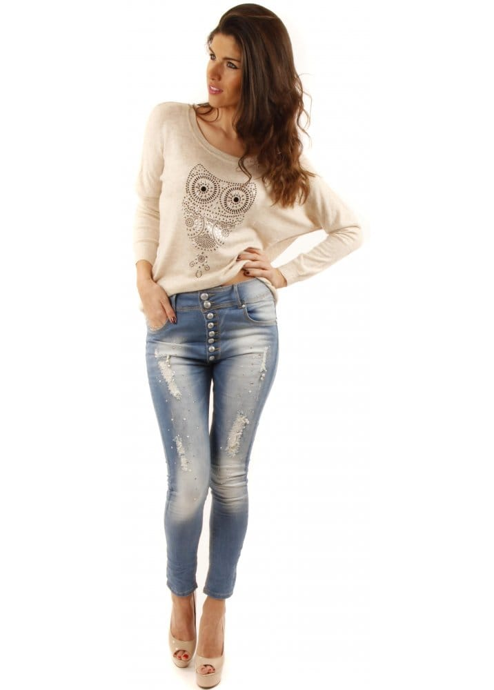 high waisted stretch fit jeans embellished ripped jeans