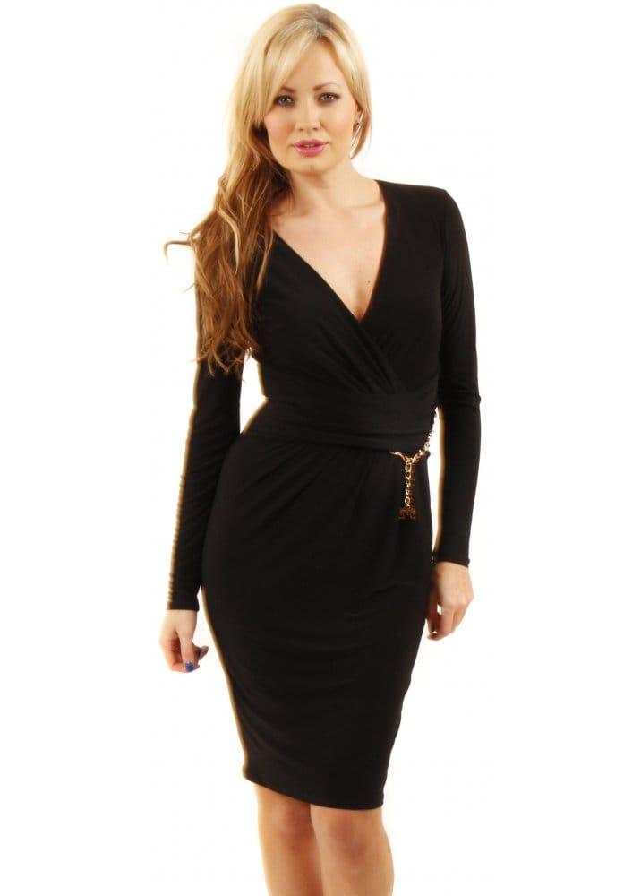 Black Wrap Midi Dress - Black Stretch Jersey Dress - Little Black ...