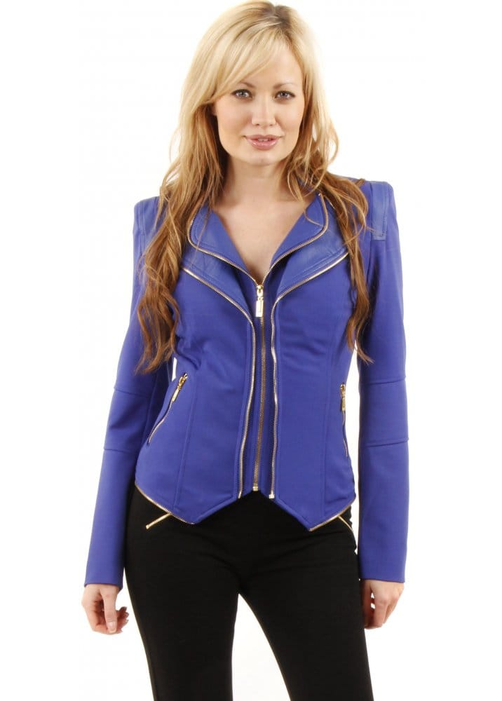 Button Front Cropped Blazer-Blue - % Polyester - L: 22