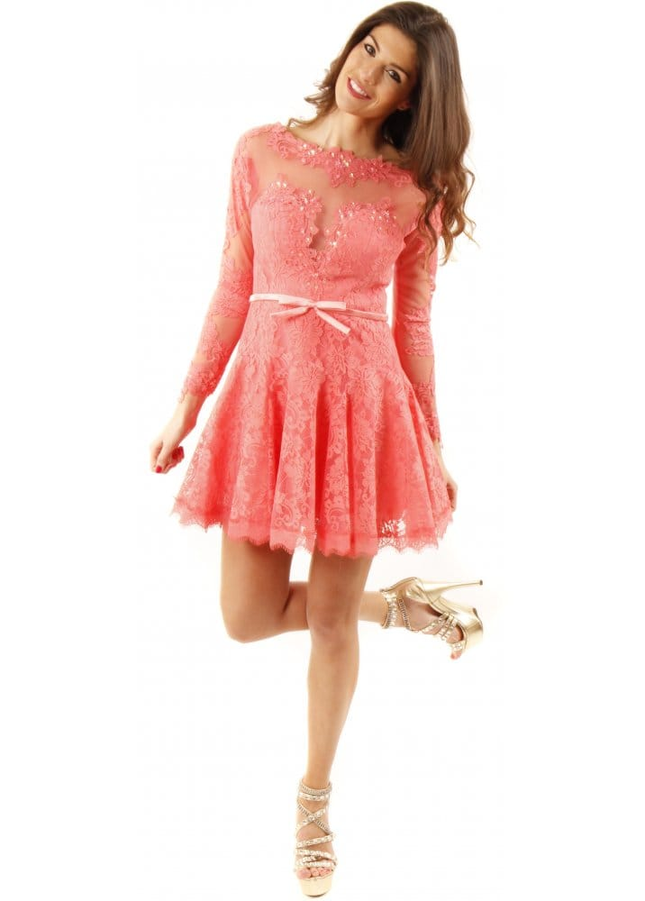 Forever Unique Louisa Dress | Coral Lace Skater Dress