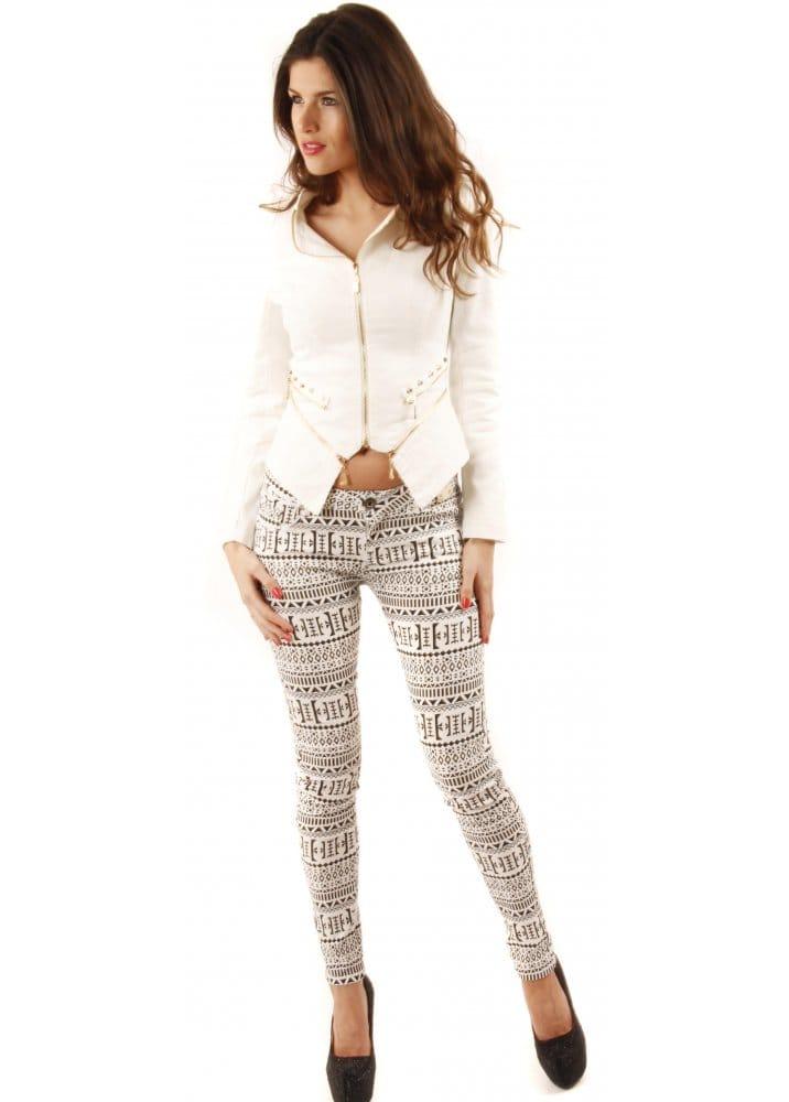 Parisian Jeans | Aztec Printed Jeans | Monochrome Jeans