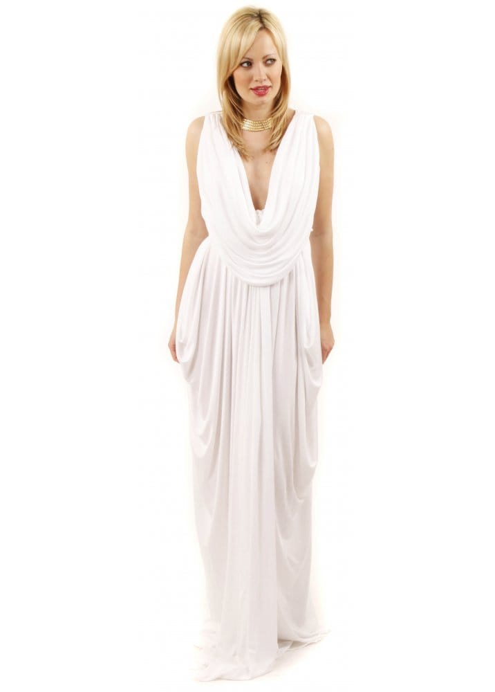 White Grecian Style Prom Dresses - Holiday Dresses