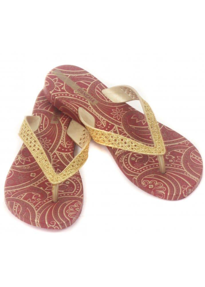 Designer Flip Flops : IPanema : Glitter Gold Ladies Flip Flops