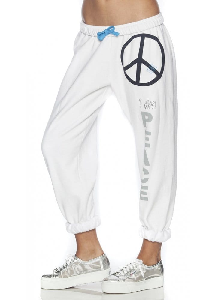 I Am Peace Ll White Fleece Pants