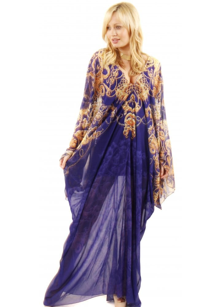 Party 21 Kaftan | Blue Silk Kaftan Dress | Silk Maxi Kaftan