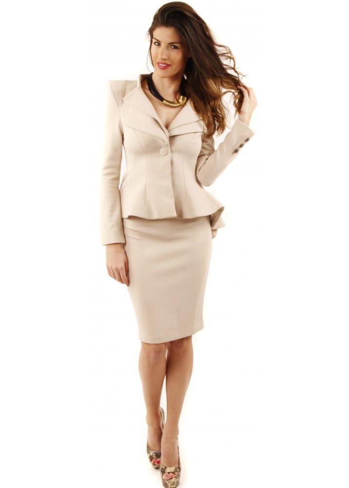 Cream Dress Suit Dress Yy