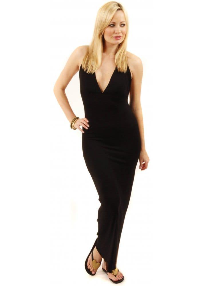 Black Jersey Maxi  Black Halter Neck Maxi Dress  Cheap Black Maxi
