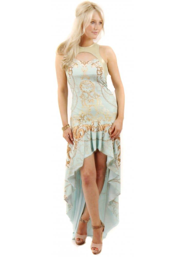 Party 21 dress aqua printed maxi dress party 21 maxi for Waterfall design dress