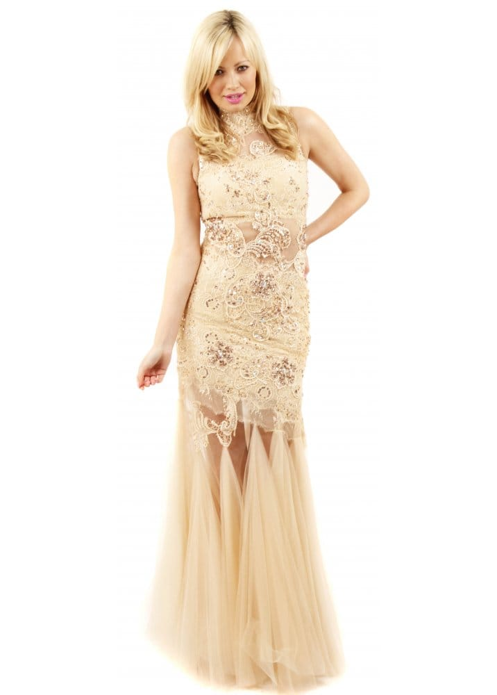 Forever Unique Kassidy Dress | Nude Fishtail Ball Gown | Nude Prom Dress