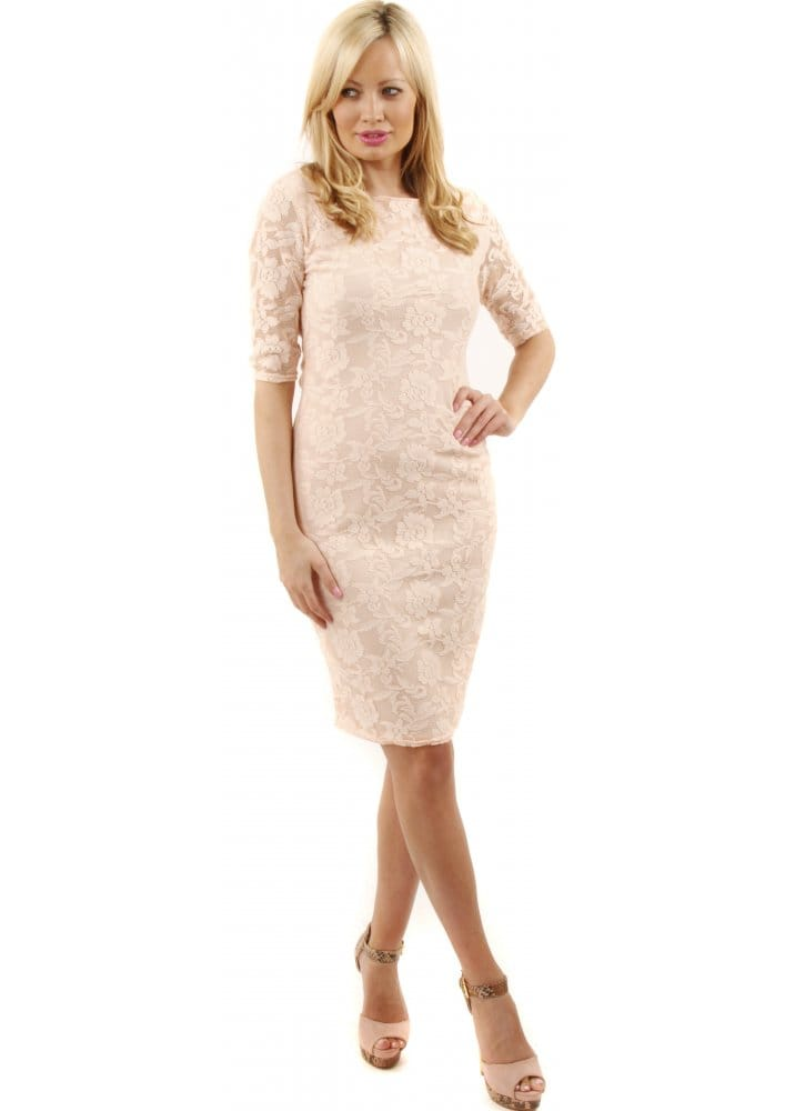 Peach Lace Dress Lace Midi Dress Cheap Lace Dresss