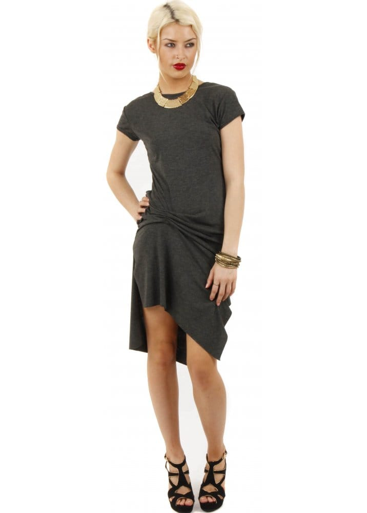 Charcoal grey t shirt dress t shirt dress ruched t for Dark grey shirt dress