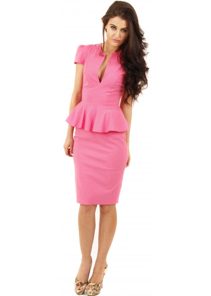 Goddiva Dress - Hot Pink Pencil Dress - Pink Peplum Dress