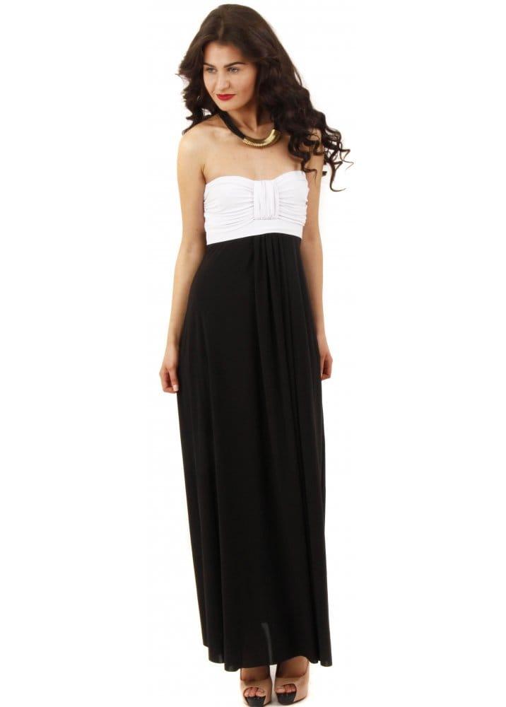Goddiva Black &amp- White Maxi Dress - Goddiva Maxi Dress - Jersey ...