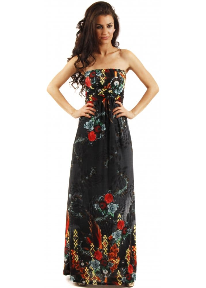 Stella Morgan Black Printed Maxi Dress Floral Print