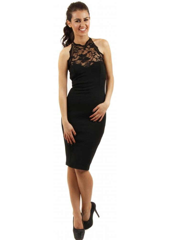Lace halter neck dresses