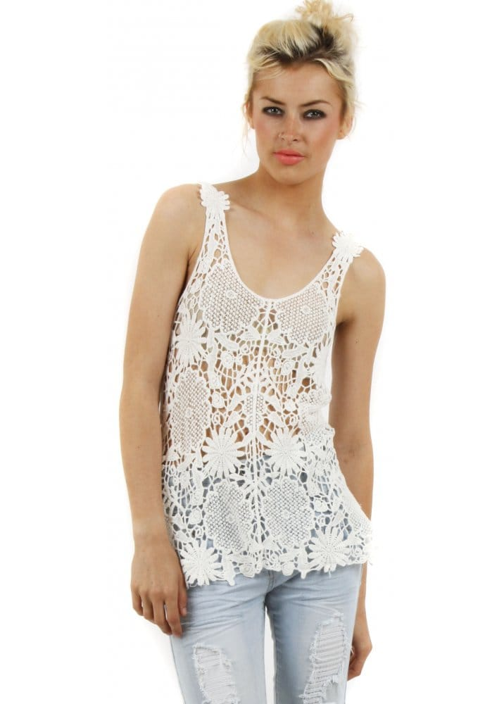 Stella Morgan Crochet Top White Cotton Top Crochet