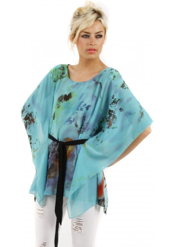 Stella Morgan Turquoise Blue Watercolour Kaftan Top