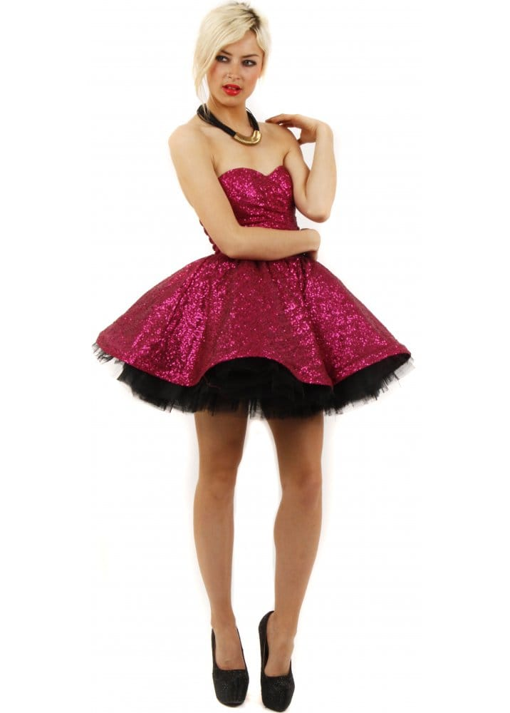 Goddiva Pink Sequinned Prom Dress Pink Party Dress